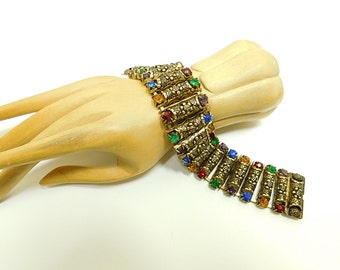 Vintage   rhinestone multi color  bracelet with  embossed barrel links