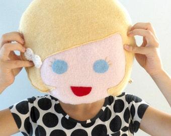 Girl Face Pillow - Doll Face Pillow - Girls Room Decor - Gender Reveal - Cashmere Pillow - Personalized Pillow - Blond Girl Face Pillow.