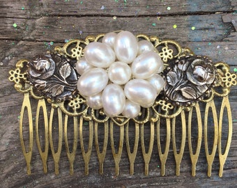 Silver and Gold Bridal Hair comb || Hair accessories || Gift for Her || Bridesmaid Gift || Bridal Headpiece || Hair Comb || Vintage || Boho