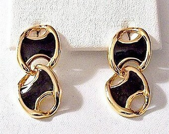 Black Slotted Wave Discs Pierced Post Stud Earrings Gold Tone Vintage Curved Double Link Dangles