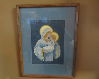 Beautiful Vintage Wood Framed Needlepoint Of Mary And Baby Jesus