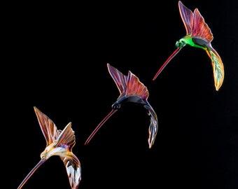 Hanging Glass Hummingbird Ornament, Rainbow of Colors