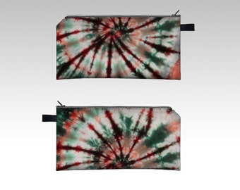 Spiral Tie Dye Pencil Case-Zipper Pouch-Pencil Pouch-Cosmetics Pouch-Cosmetics Case-Green Maroon