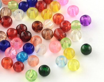 Crackle Glass 4mm assorted color beads