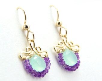 Petunia - Petite Aqua Chalcedony Purple Amethyst Gold Filled Earrings   February Birthstone Earrings