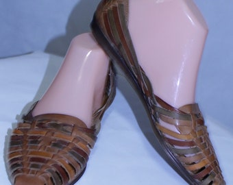 Cabin Creek Leather Brown Woven Flat Shoes Loafers Women's Size US 9.5 M