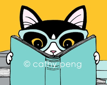 Bookish Clever Kitty Art Print