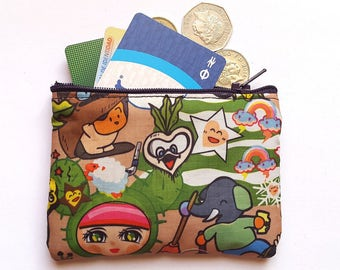 Coin Purse, Zipper Wallet, Small Zip Purse, Change Purse, Money Wallet.