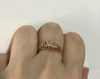 Victorian five diamonds ring#gipsy ring#English 18 ct gold antique 5 stone diamond ring#boat ring#victorian ring