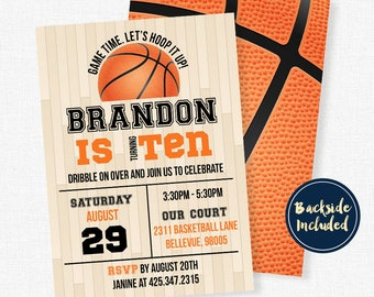 Basketball Birthday Invitation, Basketball Party Invitations, Sports Birthday Invitation