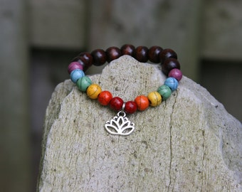 Yogi inspired wood bead rainbow chakra mala meditaiton bracelet with lotus flower or tree of life or buddha head charm bead for men or women