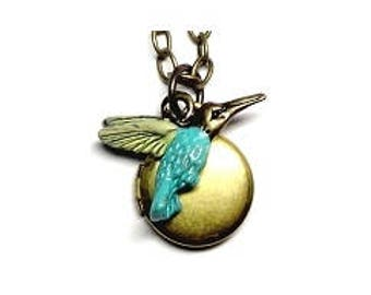 "Hummingbird Small Locket 20"" Antiqued Brass Chain"