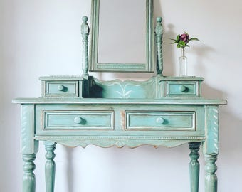 SOLD - Boho Rustic Folk Handpainted Upcycled Dressing Table & Mirror