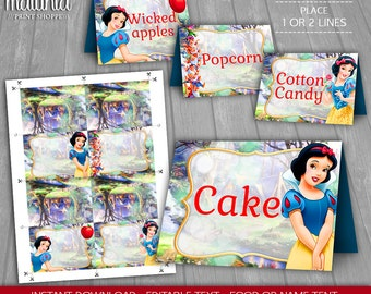 Snow White Birthday Party Tents - INSTANT DOWNLOAD - Disney Snow White Food Tents - Princess Snow White Candy Table Tents - Editable Text