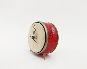 Red clock, Small Clock, Tin can clock, Wood clock, Fun clock, Upcycled clock, Clock No.7 , Customizable clock.