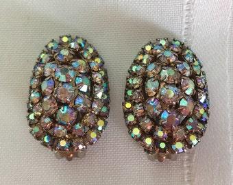 Rhinestone Aurora Borealis Oval Earrings