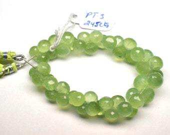 AAA 7 Inch 245 Cts 8-10mm Natural Prehnite Gemstone Microfaceted Onion Briolette Beads Strand-47 Beads