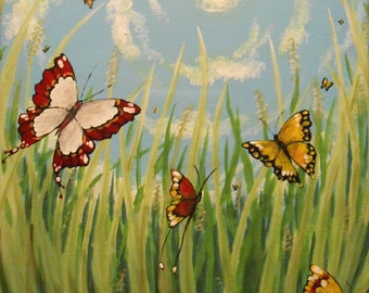 Spring - Original 12x16 Acylic Painting by Jaime Munt - Butterflies from a Bug's Eye View