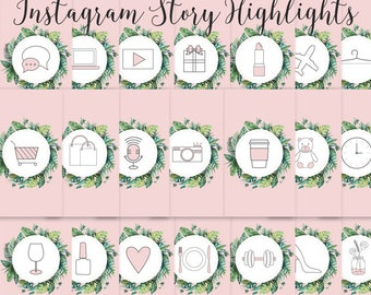 Instagram Story Highlights Icons Set of 21 Instagram Icons Blush Pink Instagram Story Template Graphic Bundle Instagram Highlights Graphic