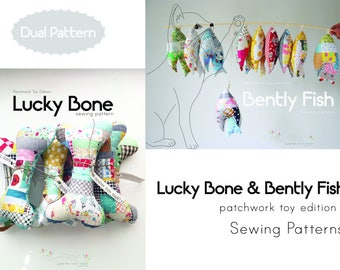 Dual Pattern: Lucky Bone/ Bently Fish Patchwork Toy Sewing Patterns/ PDF