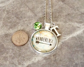 1 silver WANDER domed glass front pendant, travel necklace, wanderlust jewelry, add birthstones, add initials