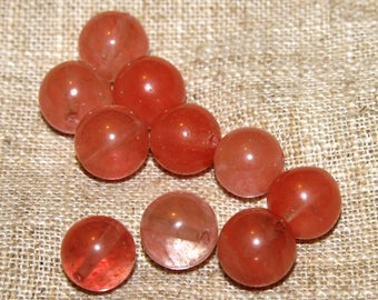 Set of 10 beads tourmaline pink genuine 10mm