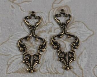 LuxeOrnaments Oxidized Brass Filigree Drop-Pendant (Qty 2) 40x17mm S-5791-B