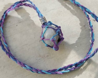Interchangeable Crystal Holder Rainbow Hemp Necklace! Choose your Size!