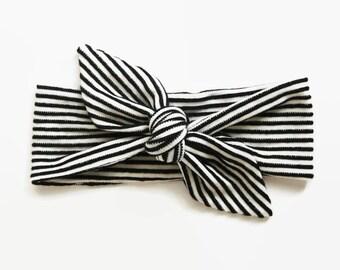 Top Knot Headband, Baby Headband, Baby Shower Gift, Toddler Headband, Baby Head Wrap, Monochrome Baby, Striped Headband, Knotted Headband
