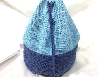 Silk and cotton blue bucket bag