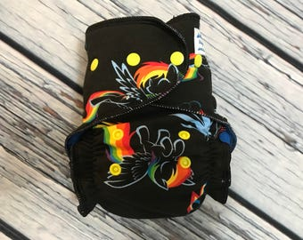 Fitted Cloth Diaper - Stay Dry Liner - Overnight Fitted - Optional Hemp or Bamboo Insert - Rainbow Ponies