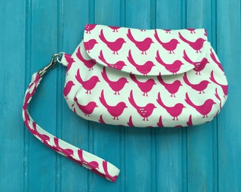 Curvy Clutch Wristlet - Pink Bird - Imported Japanese Fabric