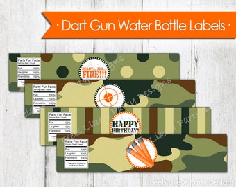 Dart Gun Water Bottle Wrappers - Instant Download
