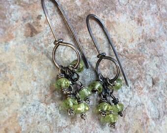 PERIDOT Earrings, sterling silver hoop earrings, green gemstone earrings, boho jewelry, handmade artisan earrings, August birthstone jewelry