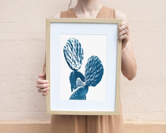Cactus Art, Succulent Print, Cyanotype on Watercolor Paper, Botanical Artwork, Cactus Watercolor, Cactus Art, Trending Now Prints