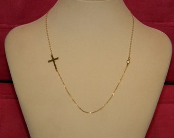14k Gold Sideways Cross And Crystal Necklace, Kelly Rippa, Selena Gomez, 15 16 17 18 19 20 inch long, First Communion Gift, Faith Jewelry