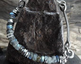 Labradorite bracelet, statement, faceted labradorite bracelet, raw, rough, silver, sterling silver, labradorite beauty gift, clothing gift