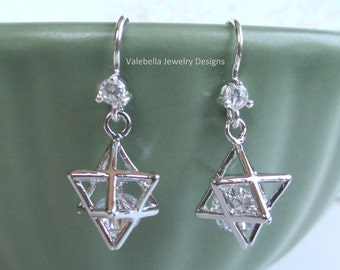 Earrings Star of David 3D sterling silver french wire crystal rhinestone dangle religious jewelry Jewish Judaica Bar Mitzva hanukkah gift