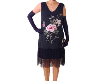 Retro Flapper Dress, Lace Flower Embroidery Dress , Great Gatsby, Black Satin, Costume, 1920s , Roaring 20s ,Downton Abbey, Custom Plus Size