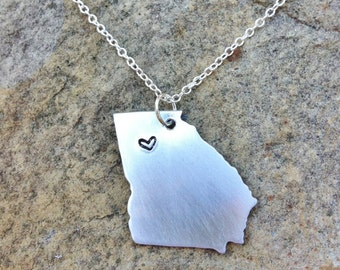 CUSTOM Long Distance Relationship State Necklace - Choose Your State Sterling Chain