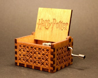 Engraved Handmade Wooden Music Box - Harry Potter Theme