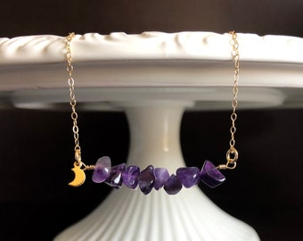 Amethyst Necklace Choker with Moon Charm/ 14k Gold Filled / February Birthstone