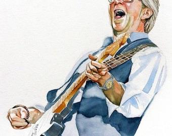 ART portrait Eric Clapton, watercolor portrait, rock and roll, guitarist, print from original painting, custom portrait, watercolor art