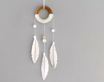 White Dream Catcher Wall Hanging. Boho Nursery Decor. Modern Felt Feather Dream Catcher. Tribal Nursery Dreamer by OrdinaryMommy