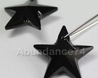 2pcs Swarovski Elements - Swarovski Crystal Pendant 6714 20mm Star Pendant - Jet ( Black )