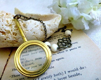 Poetic Spy Glass Long Necklace - Magnifying Glass Sweater Necklace - Steampunk Reading Glass Statement Jewelry