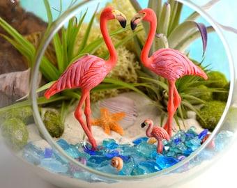"""Flamingo Beach Terrarium Kit ~ 7"""" Air Plant Terrarium Kit ~ Coastal Living Beach House Decor ~ 3 Flamingos ~ Beach Gift ~ Christmas Gift"""