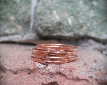 Stack Rings- Rose Gold Filled Set of 6 hammered rings