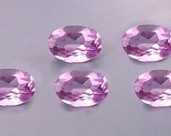 five 6x4 oval amethyst gem stone gemstone 6mm x 4mm