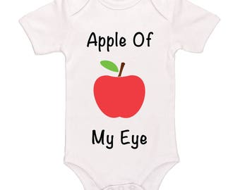 Apple Of My Eye Bodysuit, Cute Funny Baby Clothes For Boys And Girls